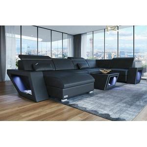 Sofa Wohnlandschaft Ecksofa Couch CATANIA U Form Design Schwarz Leder Ottomane