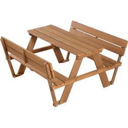 roba Kindersitzgruppe Picknick for 4 Outdoor Deluxe, Teakholz, (Set, 1 tlg.), mit Lehne braun Kinder Kinderstühle Kindermöbel