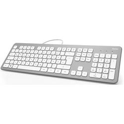 Hama KC-700 USB Tastatur Deutsch, QWERTZ, Windows® Silber, Weiß