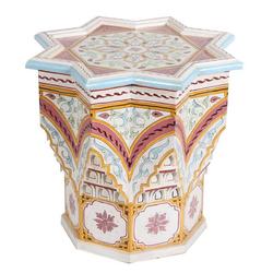 Casa Moro Beistelltisch Orientalischer Beistelltisch Riad Beige Ø 53cm Höhe 54cm aus Holz handbemalt, marokkanischer Couchtisch Vintage Sofatisch, Kunsthandwerk aus Marokko, (1-St), HM1032
