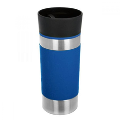 bremermann Thermobecher Thermobecher blau, Behälter aus hochwertigem, rostfreiem Edelstahl, Deckel aus Kunststoff, Manschette aus Silikon, 100% auslaufsicher
