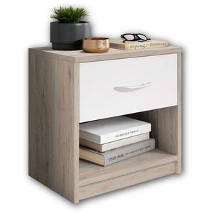 Stella Trading PEPE Nachttisch in San Remo Optik, Weiß - Schlichter Nachtschrank mit einer Schublade passend zu jedem Bett & Schlafzimmer - 39 x 41 x 28 cm (B/H/T)