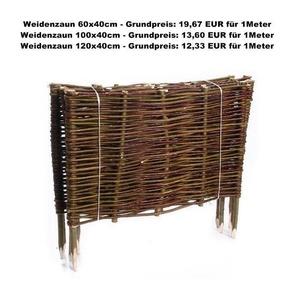 Weidenzaun Beeteinfassung Mähkante Beetumrandung Steckzaun Rasenkante bis 120cm