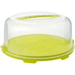 Rotho FRESH Tortenglocke, hoch, Tortenhaube aus Kunststoff, Farbe: transparent / grün