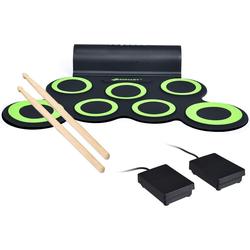 COSTWAY Elektrisches Schlagzeug E-Drum elektronisches Schlagzeug Set Roll-Up-Trommel, inkl. 2 Pedale und Drumsticks, mit 5 Töne 8 Demos, 7 Pads grün
