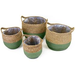 NOOR LIVING Aufbewahrungskorb (Set, 4 Stück), dekorative Aufbewahrung von verschiedenen Utensilien grün