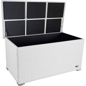 PREMIUM 'Venezia' 950 L Polyrattan Garten Kissenbox wetterfest (regnet nicht rein) 146 x 83 x 80 cm, Auflagenbox mit verstärktem Deckel und Gasdruckfedern, auch als Tischplatte geeignet, Weiss