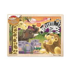 Melissa & Doug Puzzle Holzpuzzle - Afrikanische Steppe, 24 Teile, Puzzleteile
