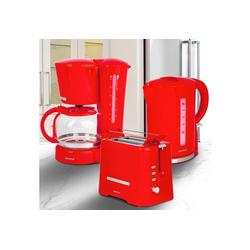 ONVAYA Frühstücks-Set Frühstücksset 3-teilig, Kaffeemaschine Toaster Wasserkocher Set, Frühstücksserie 3 in 1, Filterkaffeemaschine für 12 Tassen, Toaster für 2 Scheiben, Wasserkocher 1,7 Liter rot