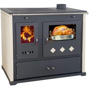 EEK A+ Kaminofen mit Backfach und Herdplatte Practik Lux Holzofen 9,5 kW Kamin Ofen Dauerbrandofen Werkstattofen Schwedenofen Hüttenofen Heizofen