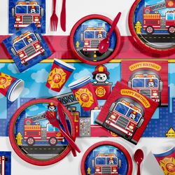 81pk Fire Truck Party Supplies Kit Disposable Dinnerware Set