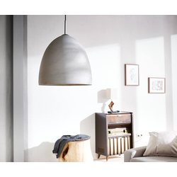 DELIFE Hängeleuchte Ciril 38x38 cm Grau Rund Beton, Hängeleuchten