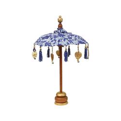 Oriental Galerie Sonnenschirm Kleiner Tischschirm aus Indonesien Blau mit Muster, Handarbeit