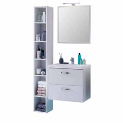 Badezimmermöbel Set mit Regal Weiß (3-teilig)