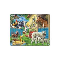 Larsen Puzzle Rahmen-Puzzle, 23 Teile, 36x28 cm, Nutztiere, Puzzleteile