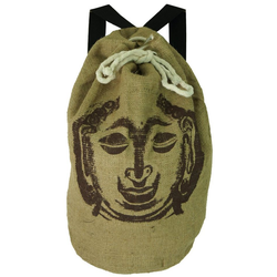 Guru-Shop Freizeitrucksack Jute Rucksack mit Buddha Motiv