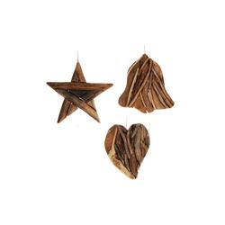 Hängedeko aus Teakholz - Herz Stern Glocke - Teak Weihnachtsdeko zum Hängen