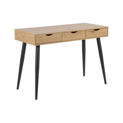 ebuy24 Schreibtisch Nete Schreibtisch mit 3 Schubladen aus Wildeiche D