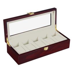 TOPMELON Uhrenbox, Uhrenkoffer für 5 Uhren Aufbewahrung für Uhren 26 cm x 8 cm x 11 cm