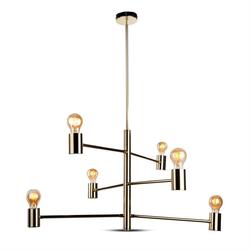 Deckenleuchte LED Moderner Kronleuchter Gold einstellbar 6 Glühbirnen 3889/ V-TAC