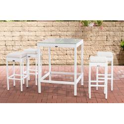 CLP Gartenmöbelset Gartenbar Alia, mit Tisch und 4 Barhockern weiß