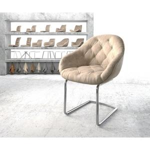 DELIFE Esszimmerstuhl Gaio-Flex, Freischwinger rund verchromt Vintage Beige weiß 62 cm x 80 cm x 59 cm