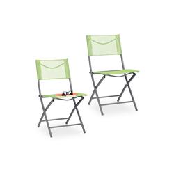 relaxdays Klappstuhl Klappbarer Gartenstuhl 2er Set grün