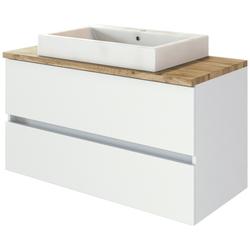 HELD MÖBEL Waschtisch Livorno Waschtisch 100 (Set, 2-St), mit 2 Schubladen, Keramik weiß