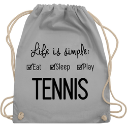 Shirtracer Turnbeutel Life is simple Tennis - Tennis - Turnbeutel grau