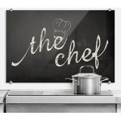 Wall-Art Herd-Abdeckplatte Spritzschutz Küchen Chef Koch, Glas, (1 tlg) 80 cm x 60 cm x 0,4 cm