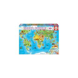 Educa Puzzle Puzzle, 150 Teile, 48x34 cm Kontinente Bauwerke, Puzzleteile