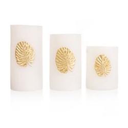 ELAMBIA LED-Kerzen-Set Blatt-Dekor schwarzer Docht Höhe 10, 13 & 15cm