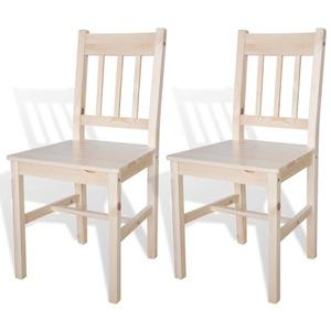 Tidyard 2 Stühle Holzstuhl Esszimmerstuhl Küchenstuhl aus Massiver Kiefer in Naturholz, 41,5 x 45,5 x 86 cm (B x T x H)