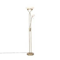 Stehlampe Bronze inkl. LED und Dimmer mit Leselampe - Empoli
