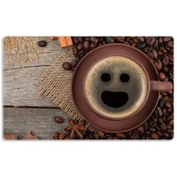 Wallario Frühstücksbrett Lustige Kaffeetasse mit einem Lächeln - Kaffeebohnen und Zimt, Glas, (1-St), 14 x 23 cm