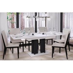 design Säulentisch 130-210 ausziehbar Hochglanz weiß schwarz Esstisch zweifarbig