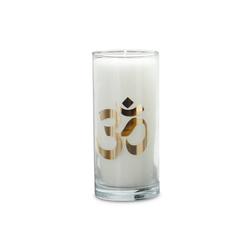 yogabox Duftkerze Weiß mit goldenen Etikett OM