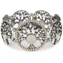 styleBREAKER Armreif Armband mit Lebensbaum Amuletten mit Perlen & Strass, Armband mit Lebensbaum Amuletten mit Perlen & Strass weiß