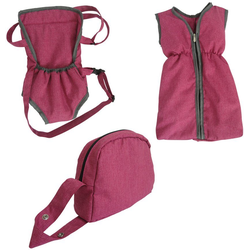 Knorrtoys® Puppen Schlafsack Puppenzubehörset - berry, (Set, 3-tlg), mit Puppenbauchtrage und Wickeltasche