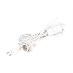 BigDean Lampenfassung E14 Schalter weiß 3m Lampenkabel Kabel Lampen-Verbindungskabel, (191 cm)