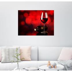 Posterlounge Wandbild, Rotwein im Weinglas und Flasche 90 cm x 70 cm
