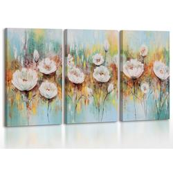 YS-Art Gemälde Weiße Mohnblumen 087