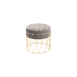 Kayoom Hocker Cleopatra 225 in grau-gold