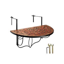 tectake Balkonhängetisch Balkontisch Mosaik klappbar (1-St) braun