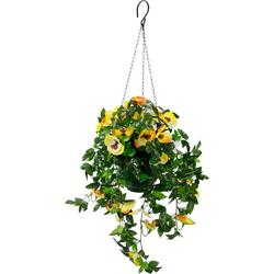 Kunstpflanze Stiefmütterchenhängeampel Stiefmütterchenhängeampel, I.GE.A., Höhe 64 cm