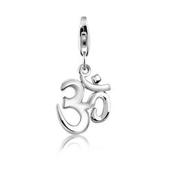 Nenalina Charm-Einhänger Om Symbol Anhänger Yoga 925 Silber
