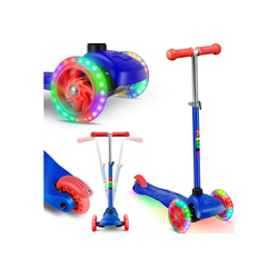 KIDIZ Cityrad, Kinder Scooter Pro1 Dreiradscooter mit PU LED Leuchtenden Räder Kinderroller Tret-Roller höhenverstellbarer Cityroller Kinderscooter für Kinder Jungen Mädchen ab 3-12 Jahre blau
