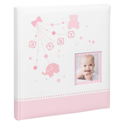 IDEAL TREND Album Baby Start Fotoalbum in 29x32 cm 60 weiße Seiten Foto Album Fotobuch rosa