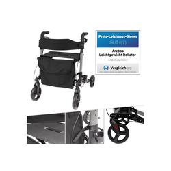 Arebos Rollator Alu Rollator Klappbar mit Einkaufstasche, Leichtgewichtrollator aus stabilem Aluminum, Griffhöhe 6-Fach höhenverstellbar von 78 - 91 cm