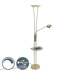 Goldene Stehlampe mit Lesearm inkl. LED und USB-Anschluss - Sevilla